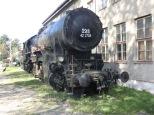 Ein Stahlross mit funktioniellem Design erwartet einen vor dem Heizhaus des Eisenbahnmuseums.